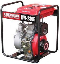 Motobomba Kawashima Diesel, 4,2HP, 211cc, 2',' DW 236-E, Centrífuga Auto-Escorvante Partida Elétrica, tq 12,5 L