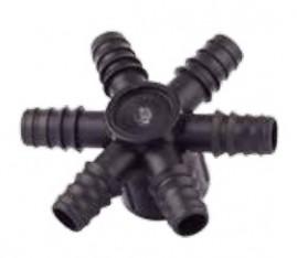 Distribuidor 6 saídas de 13mm com ranhuras e rosca 3/4
