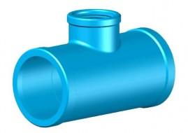 Tê soldável para irrigação 50 mm derivação rosca 1/2